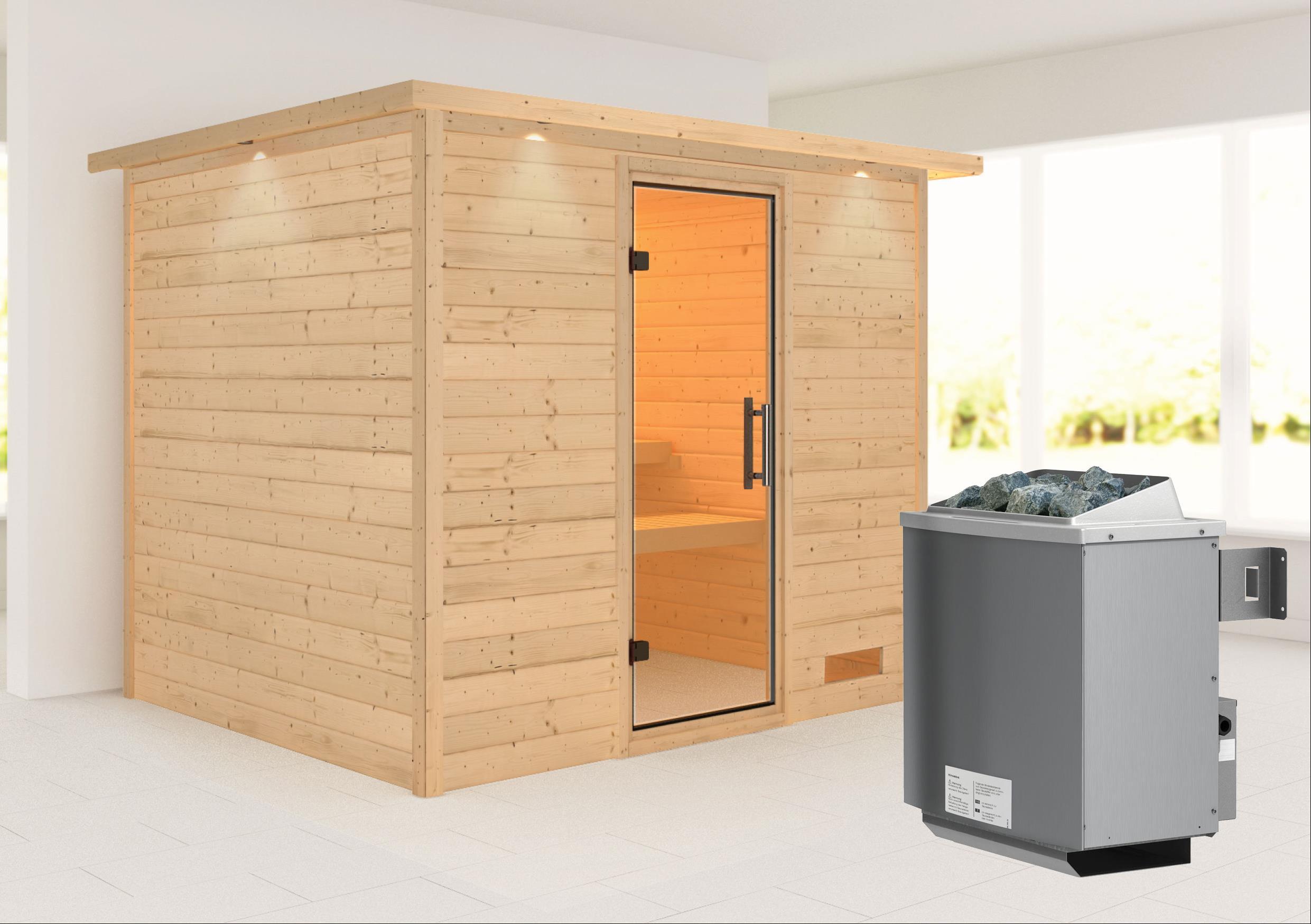 Woodfeeling Sauna Karla 38mm Kranz Ofen 9kW intern Tür Klarglas Bild 1