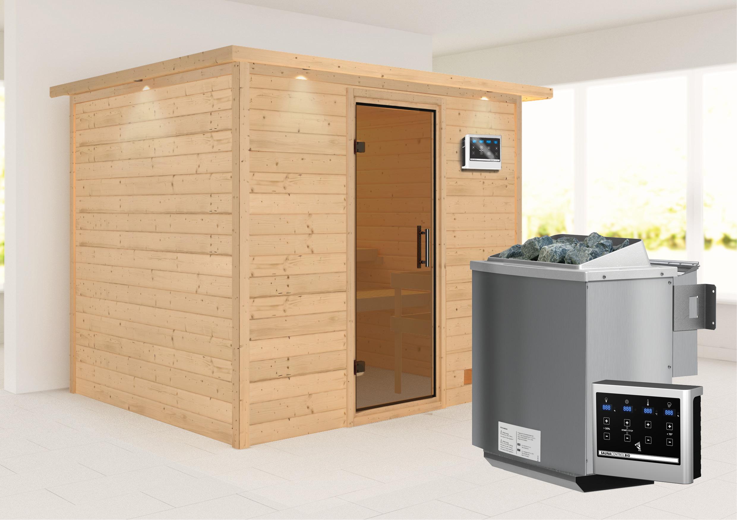 Woodfeeling Sauna Karla 38mm Kranz Ofen Bio 9kW Tür modern Bild 1