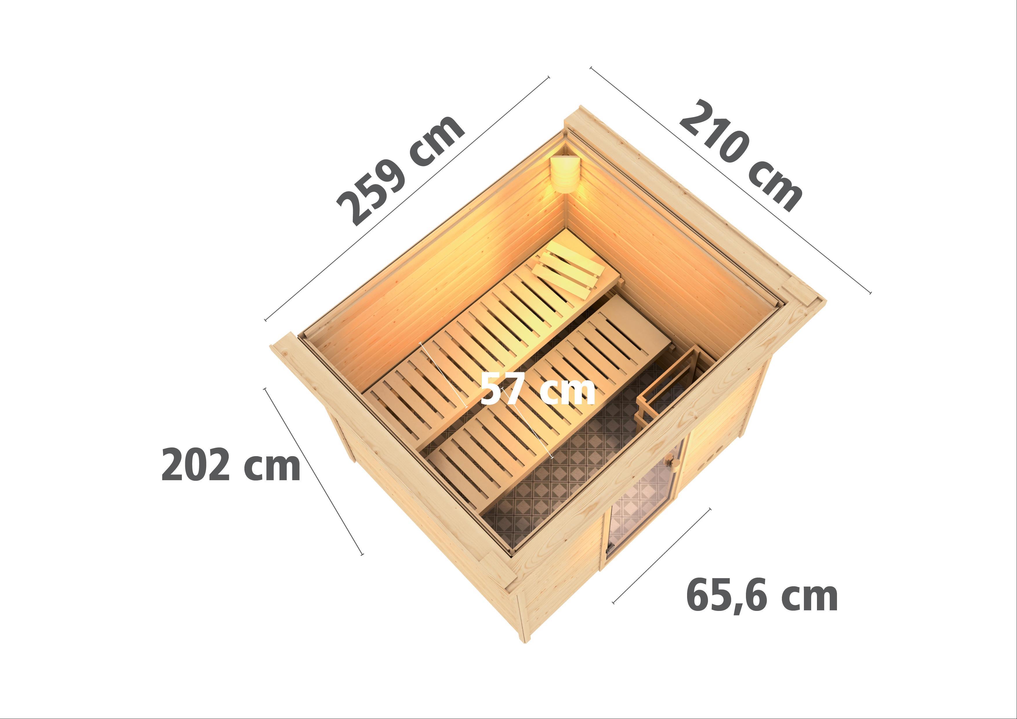 Woodfeeling Sauna Karla 38mm Kranz Ofen Bio 9kW Tür modern Bild 3