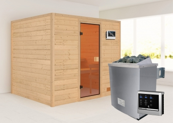 Woodfeeling Sauna Karla 38mm Ofen 9kW extern Tür Classic Bild 1