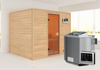 Woodfeeling Sauna Karla 38mm Ofen Bio 9kW Tür Classic Bild 1