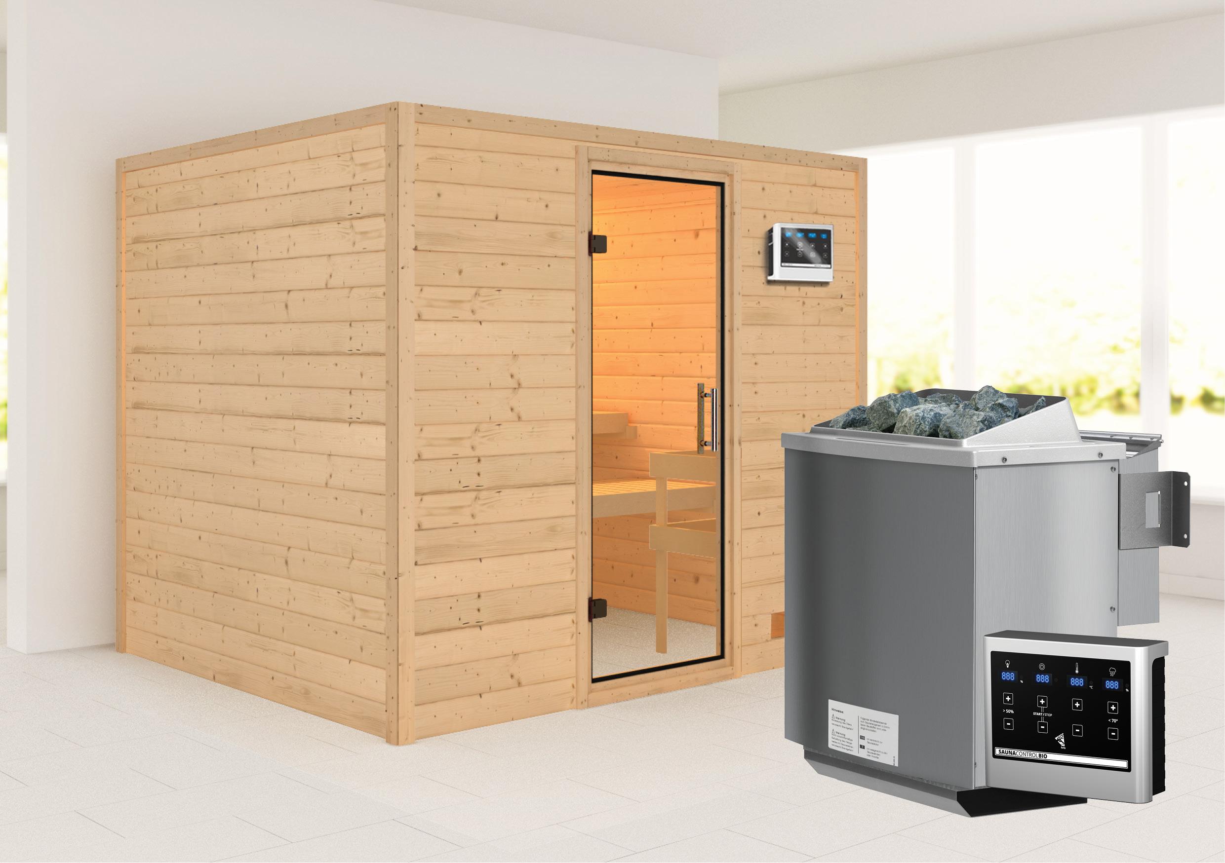 Woodfeeling Sauna Karla 38mm Ofen Bio 9kW Tür Klarglas Bild 1