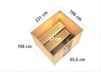 Woodfeeling Sauna Karla 38mm Ofen Bio 9kW Tür Klarglas Bild 3
