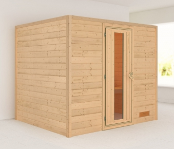 Woodfeeling Sauna Karla 38mm ohne Ofen Tür Holz Bild 1