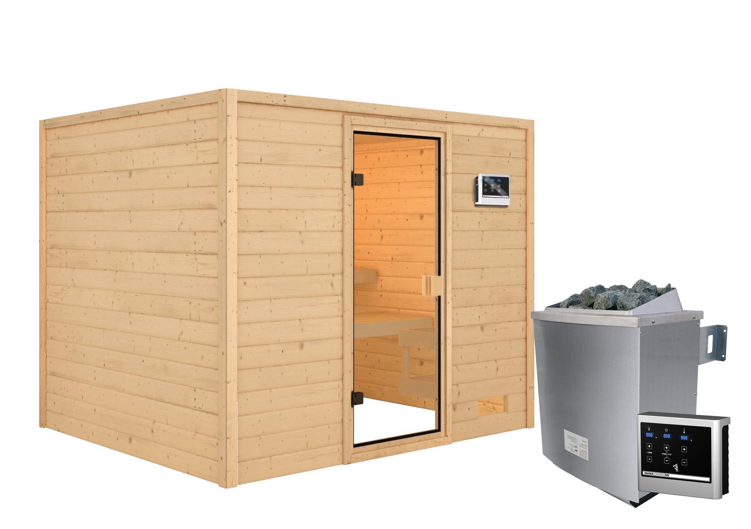 Woodfeeling Sauna Katja 38mm Saunaofen 9kW extern Bild 9