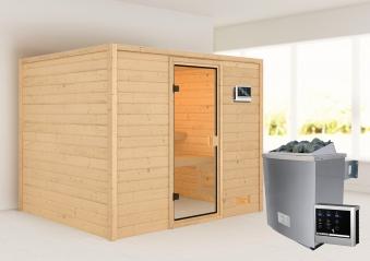 Woodfeeling Sauna Katja 38mm Saunaofen 9kW extern Bild 1