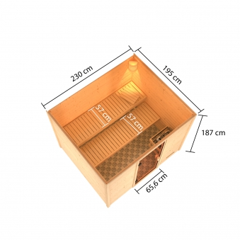 Woodfeeling Sauna Katja 38mm ohne Saunaofen Bild 4