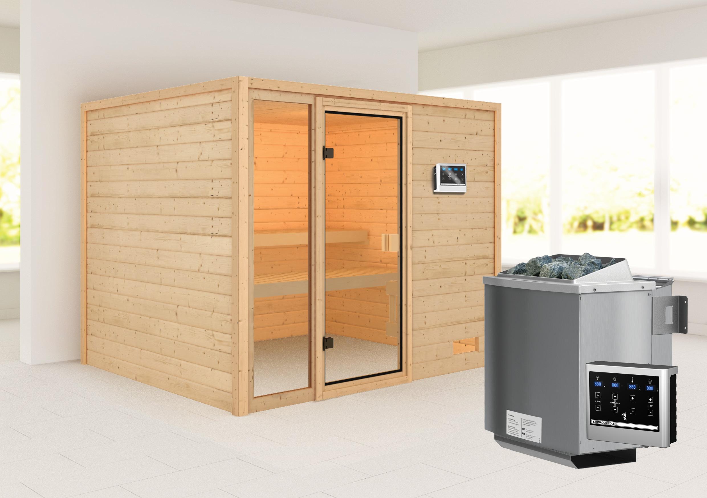 Woodfeeling Sauna Kiana 38mm Bio Saunaofen 9 kW extern Bild 1