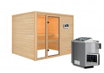 Woodfeeling Sauna Kiana 38mm Bio Saunaofen 9 kW extern Bild 2