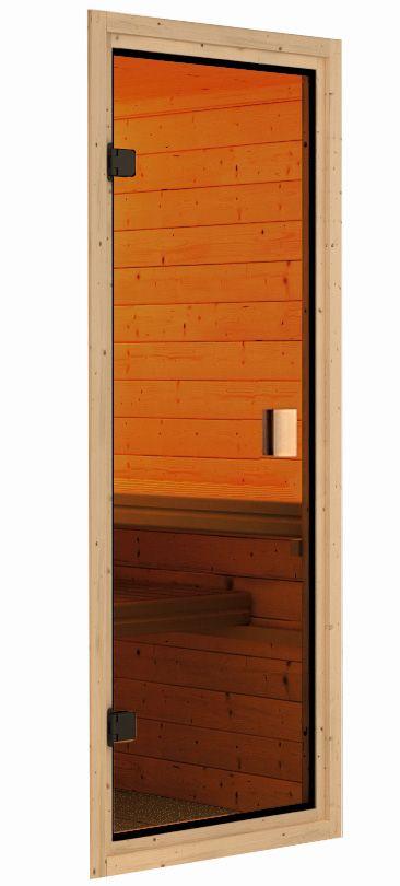 Woodfeeling Sauna Kiana 38mm Dachkranz Bio Saunaofen 9 kW extern Bild 12