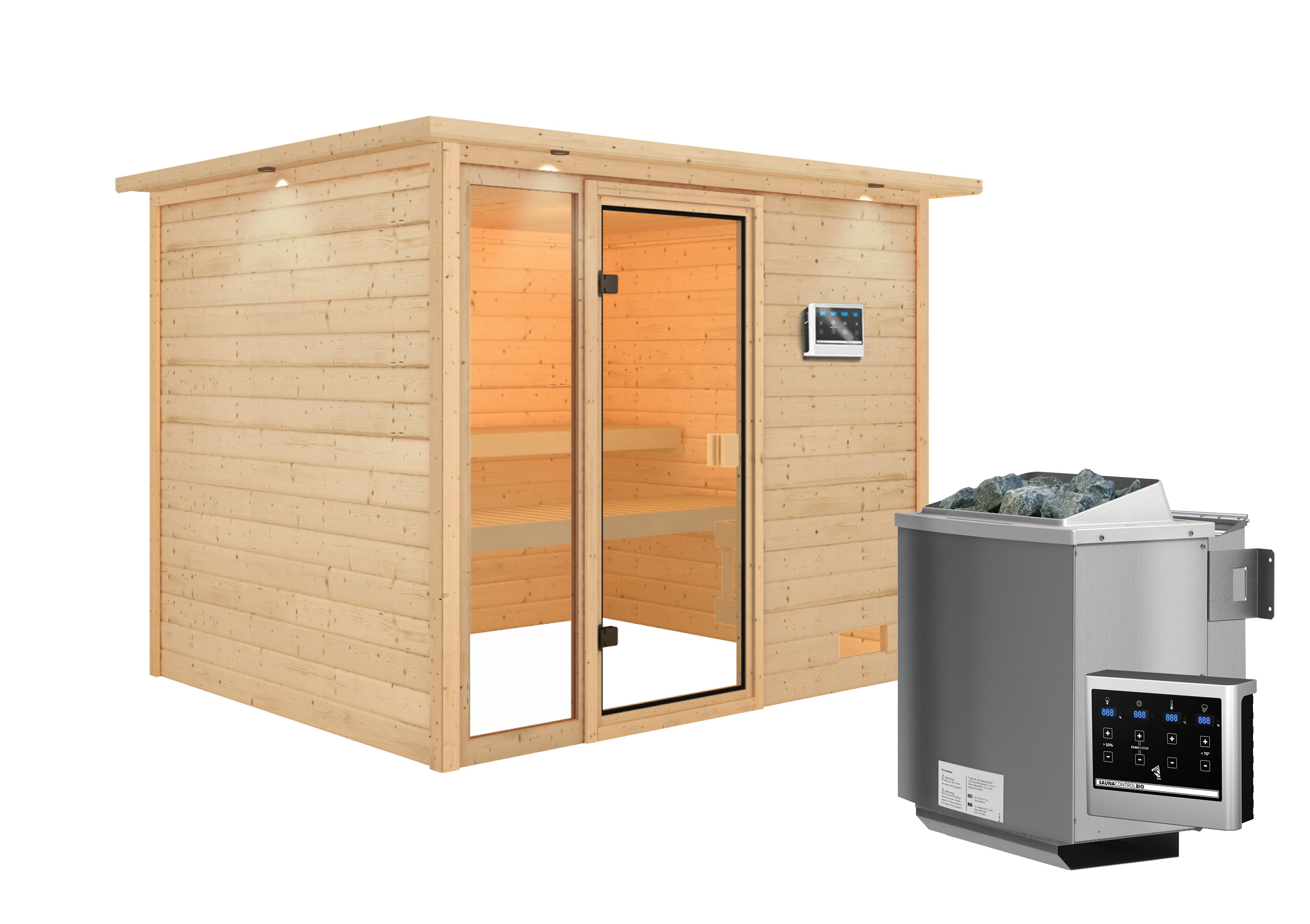 Woodfeeling Sauna Kiana 38mm Dachkranz Bio Saunaofen 9 kW extern Bild 3