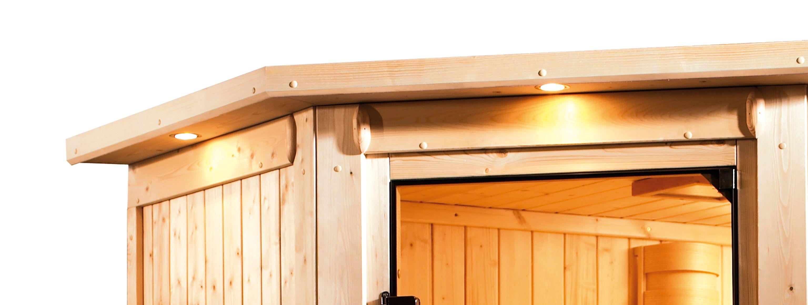 Woodfeeling Sauna Kiana 38mm Dachkranz Bio Saunaofen 9 kW extern Bild 8