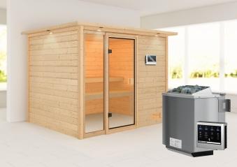 Woodfeeling Sauna Kiana 38mm Dachkranz Bio Saunaofen 9 kW extern Bild 1