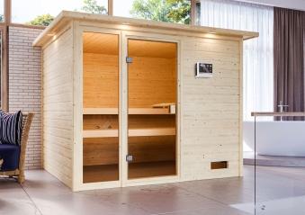 Woodfeeling Sauna Kiana 38mm Dachkranz Bio Saunaofen 9 kW extern Bild 11