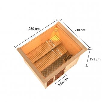 Woodfeeling Sauna Kiana 38mm Dachkranz Bio Saunaofen 9 kW extern Bild 5