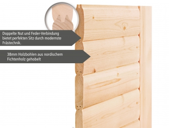 Woodfeeling Sauna Kiana 38mm Dachkranz Bio Saunaofen 9 kW extern Bild 6