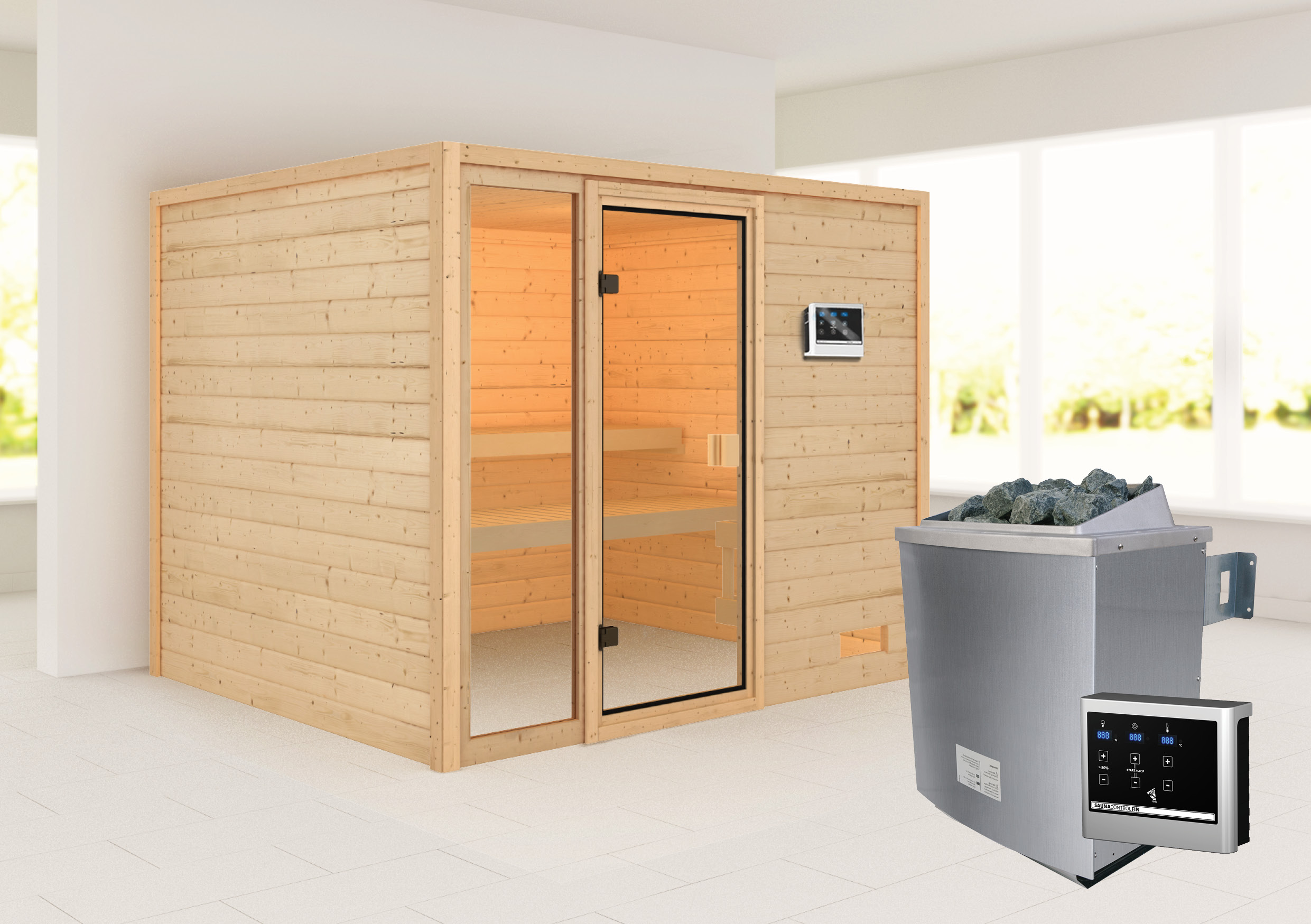 Woodfeeling Sauna Kiana 38mm Saunaofen 9 kW extern Bild 1