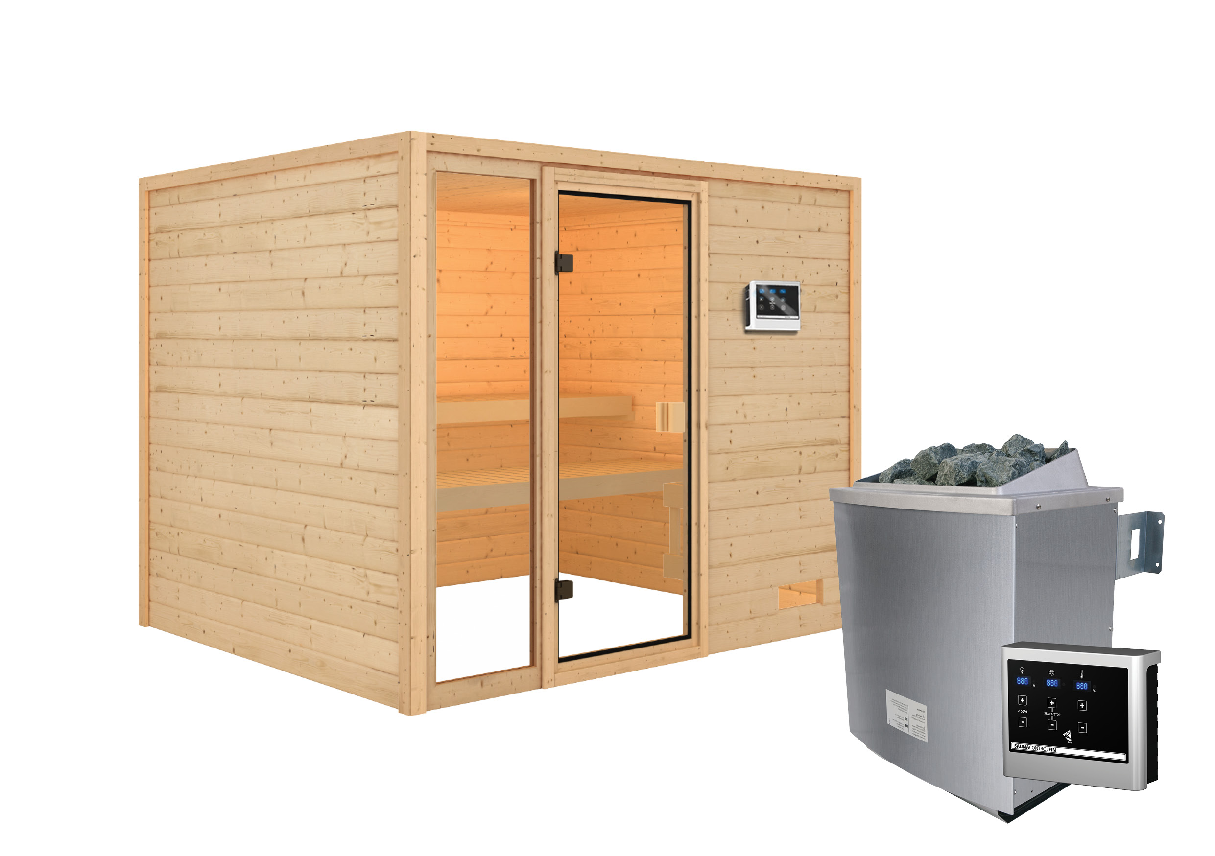 Woodfeeling Sauna Kiana 38mm Saunaofen 9 kW extern Bild 7