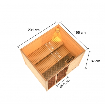 Woodfeeling Sauna Kiana 38mm Saunaofen 9 kW extern Bild 3