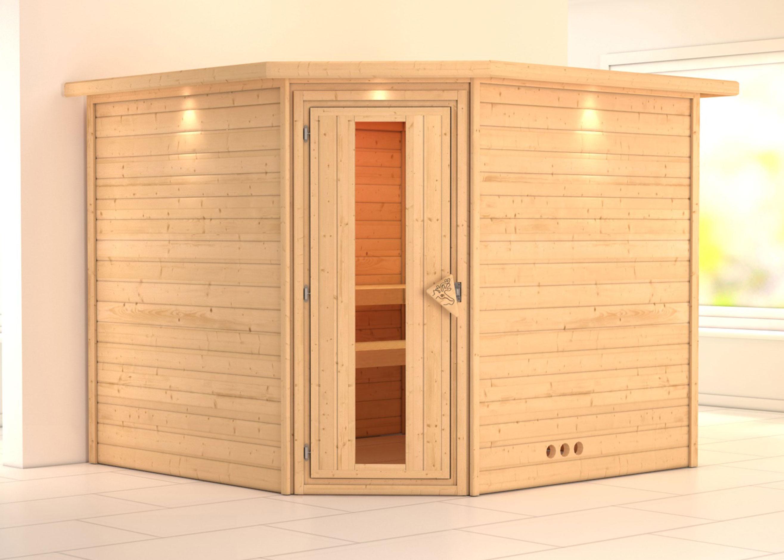 massivholzsauna ecksauna leona esp 38mm mit dachkranz ohne saunaofen bei. Black Bedroom Furniture Sets. Home Design Ideas