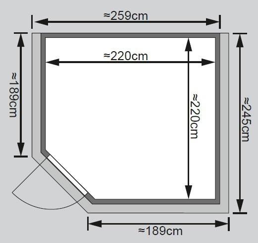 Woodfeeling Sauna Leona 38mm Kranz ohne Ofen Tür Holz Bild 2