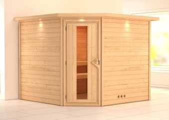 Woodfeeling Sauna Leona 38mm Kranz ohne Ofen Tür Holz Bild 1
