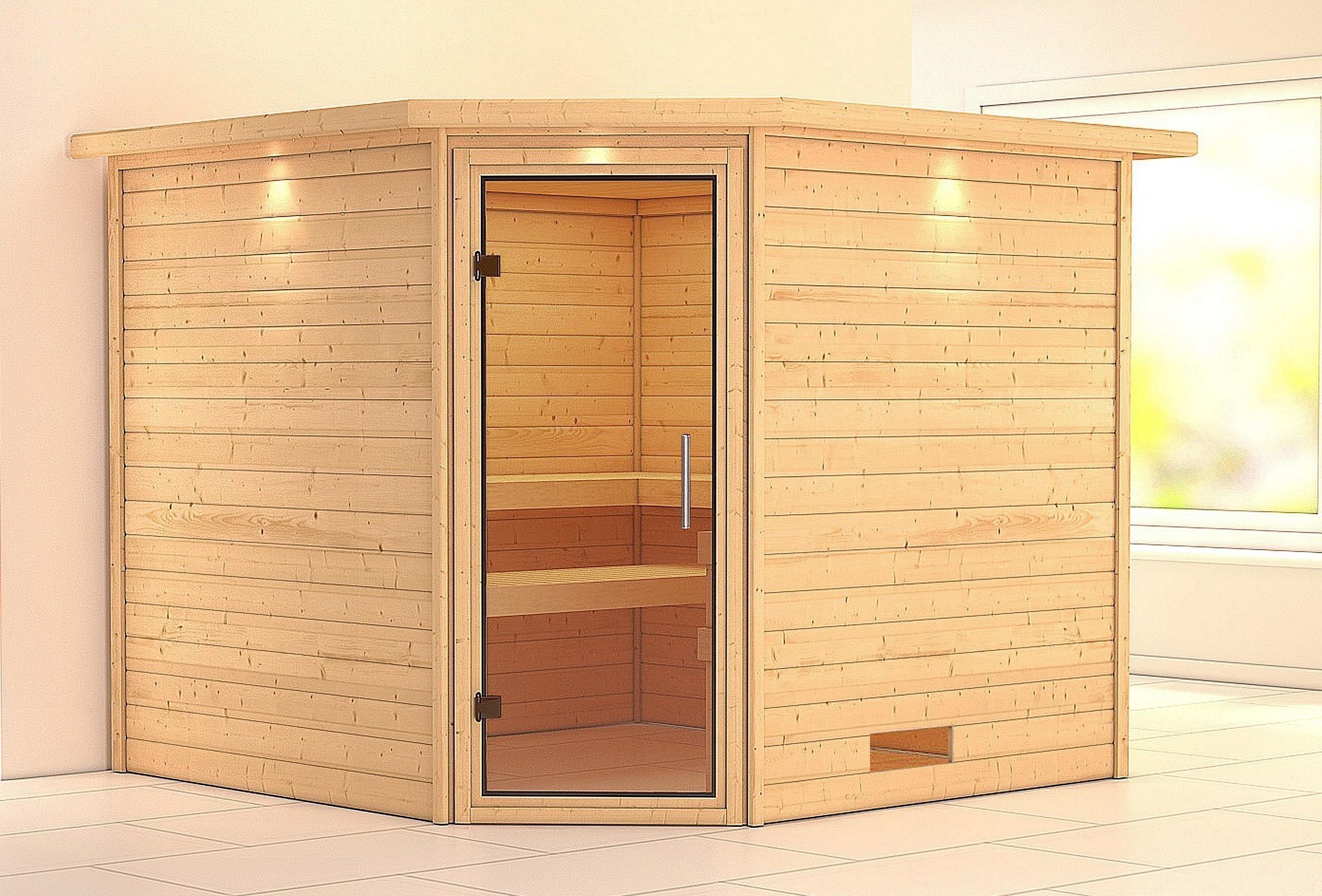 Woodfeeling Sauna Leona 38mm Kranz ohne Ofen Tür Klarglas Bild 1