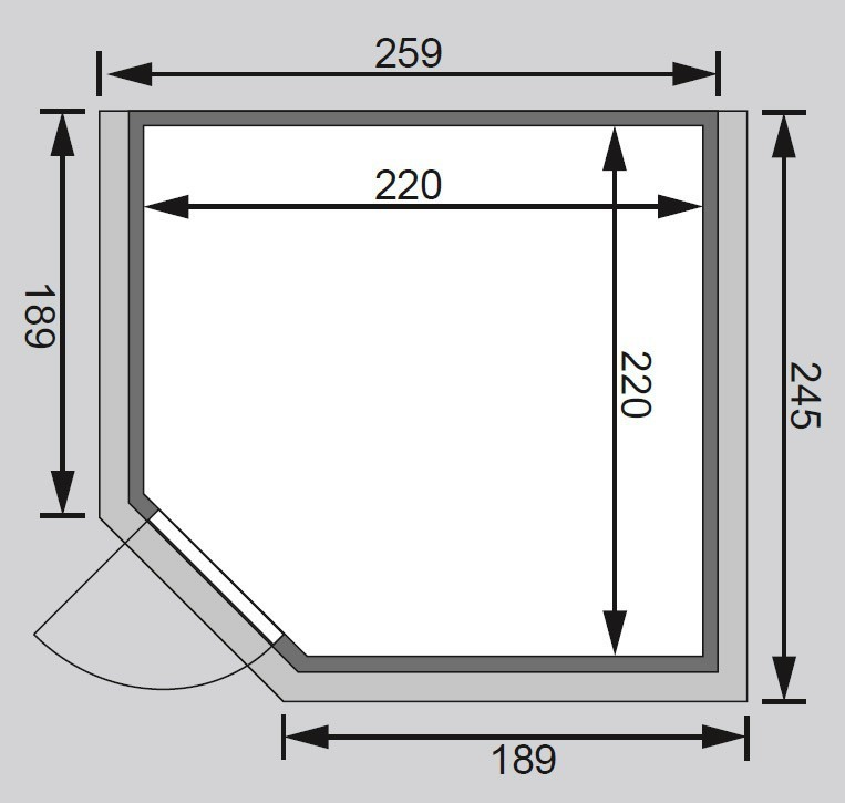 Woodfeeling Sauna Leona 38mm Kranz ohne Ofen Tür Klarglas Bild 2