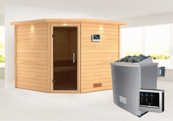 Woodfeeling Sauna Leona 38mm Kranz Ofen 9kW extern Tür Modern Bild 1
