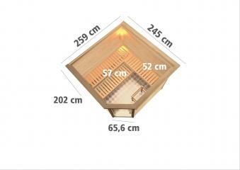 Woodfeeling Sauna Leona 38mm Kranz Ofen 9kW extern Tür Modern Bild 3