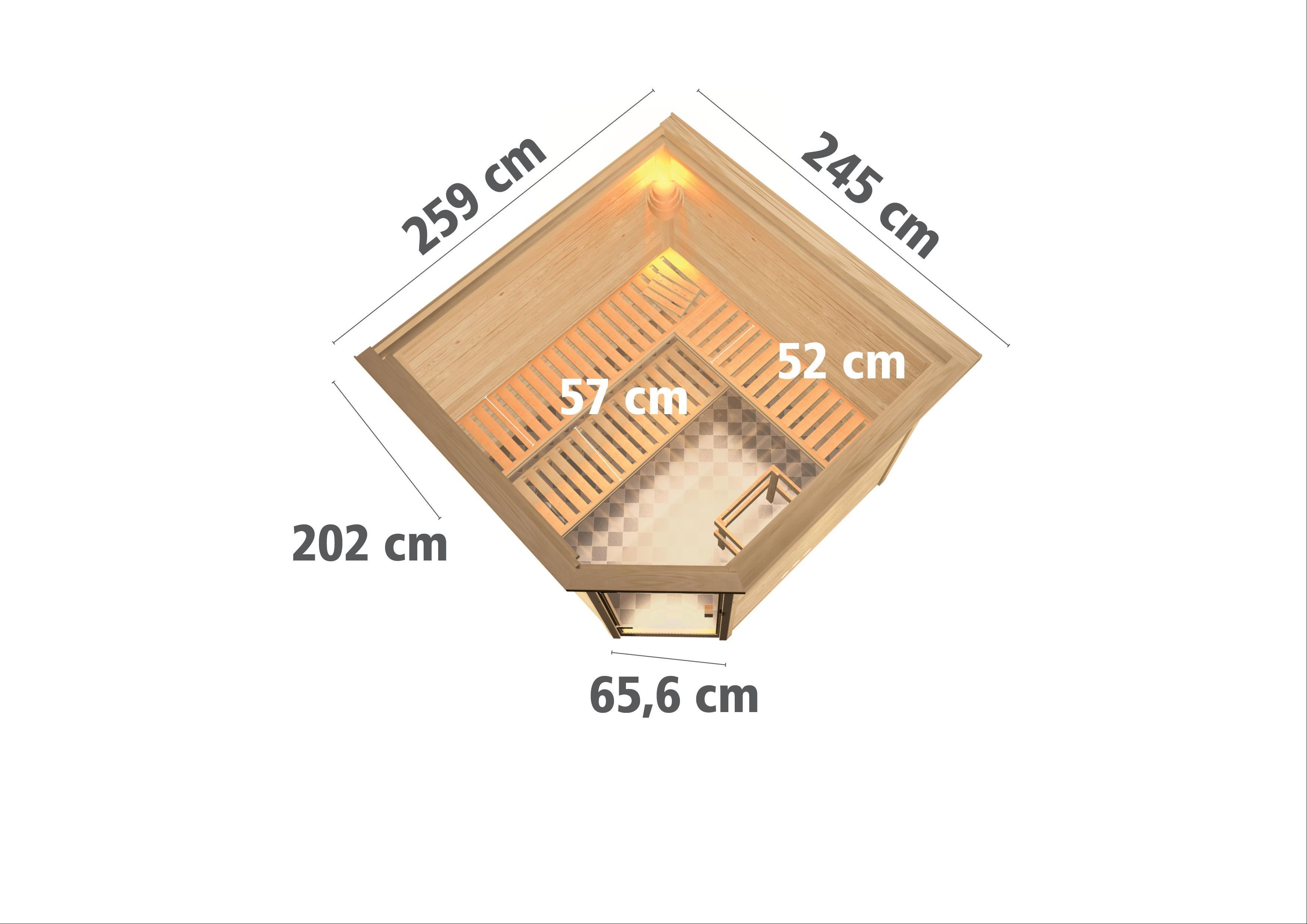 Woodfeeling Sauna Leona 38mm Kranz Ofen 9kW intern Tür Klarglas Bild 3