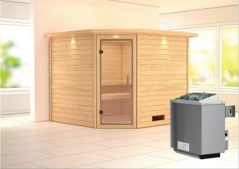 Woodfeeling Sauna Leona 38mm Kranz Ofen 9kW intern Tür Klarglas Bild 1
