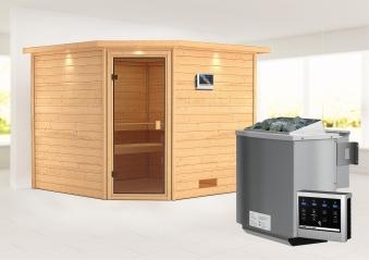 Woodfeeling Sauna Leona 38mm Kranz Ofen Bio 9kW Tür Classic Bild 1
