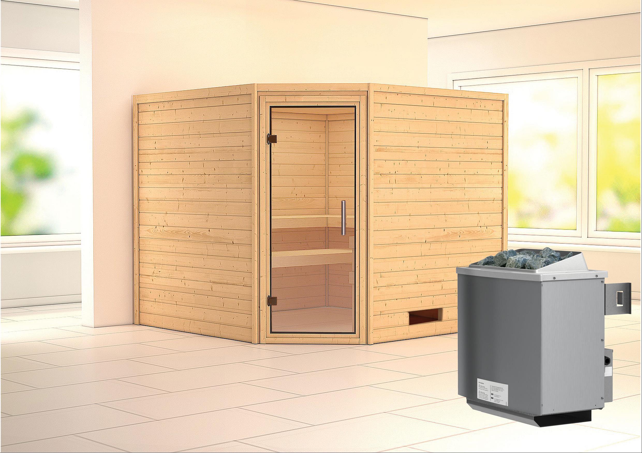 Woodfeeling Sauna Leona 38mm Ofen 9kW intern Tür Klarglas Bild 1