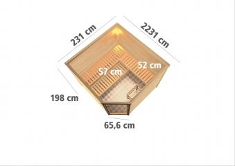 Woodfeeling Sauna Leona 38mm Ofen 9kW intern Tür Klarglas Bild 3