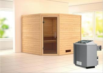 Woodfeeling Sauna Leona 38mm Ofen 9kW intern Tür Modern Bild 1