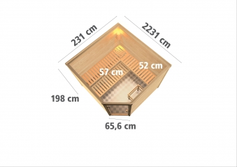 Woodfeeling Sauna Leona 38mm Ofen 9kW intern Tür Modern Bild 3