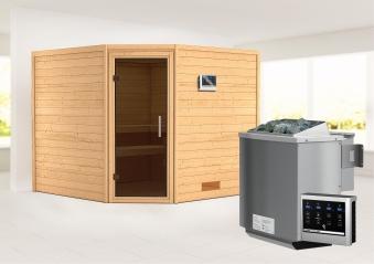 Woodfeeling Sauna Leona 38mm Ofen Bio 9kW Tür Modern Bild 1