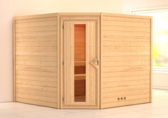 Woodfeeling Sauna Leona 38mm ohne Ofen Tür Holz Bild 1