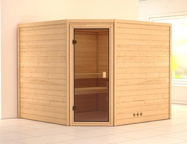 Woodfeeling Sauna Leona 38mm ohne Ofen Tür Classic Bild 1
