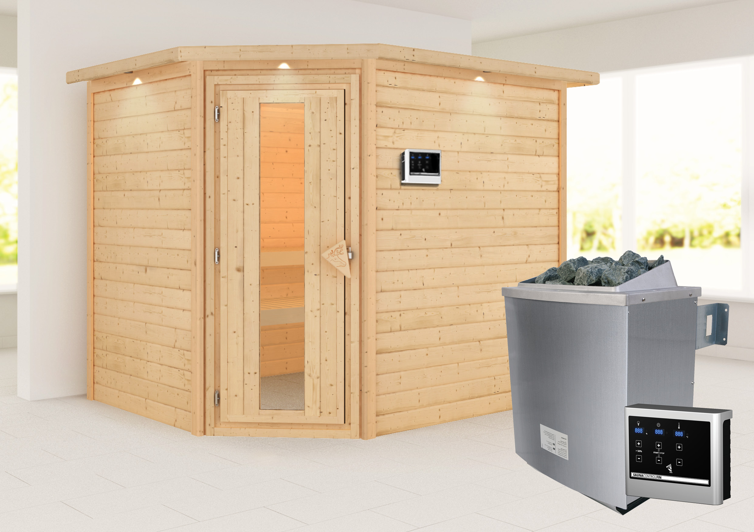 Woodfeeling Sauna Lisa 38mm Kranz Ofen 9kW extern Tür Holz Bild 1