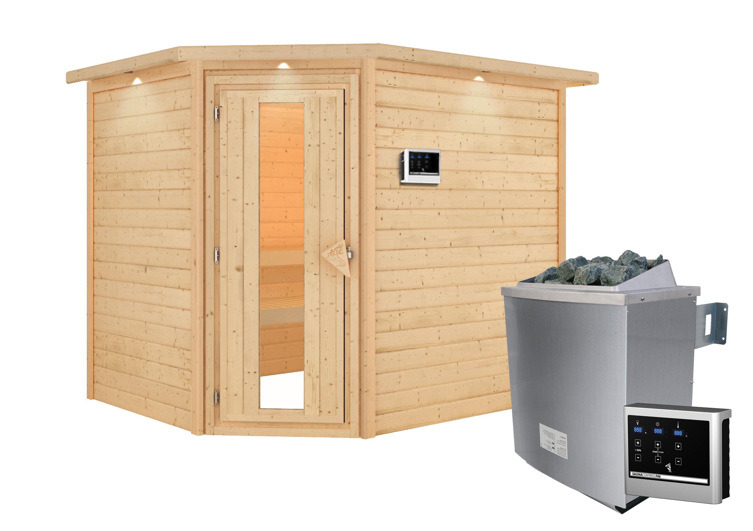 Woodfeeling Sauna Lisa 38mm Kranz Ofen 9kW extern Tür Holz Bild 2