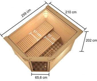 Woodfeeling Sauna Lisa 38mm Kranz Ofen 9kW extern Tür Holz Bild 5
