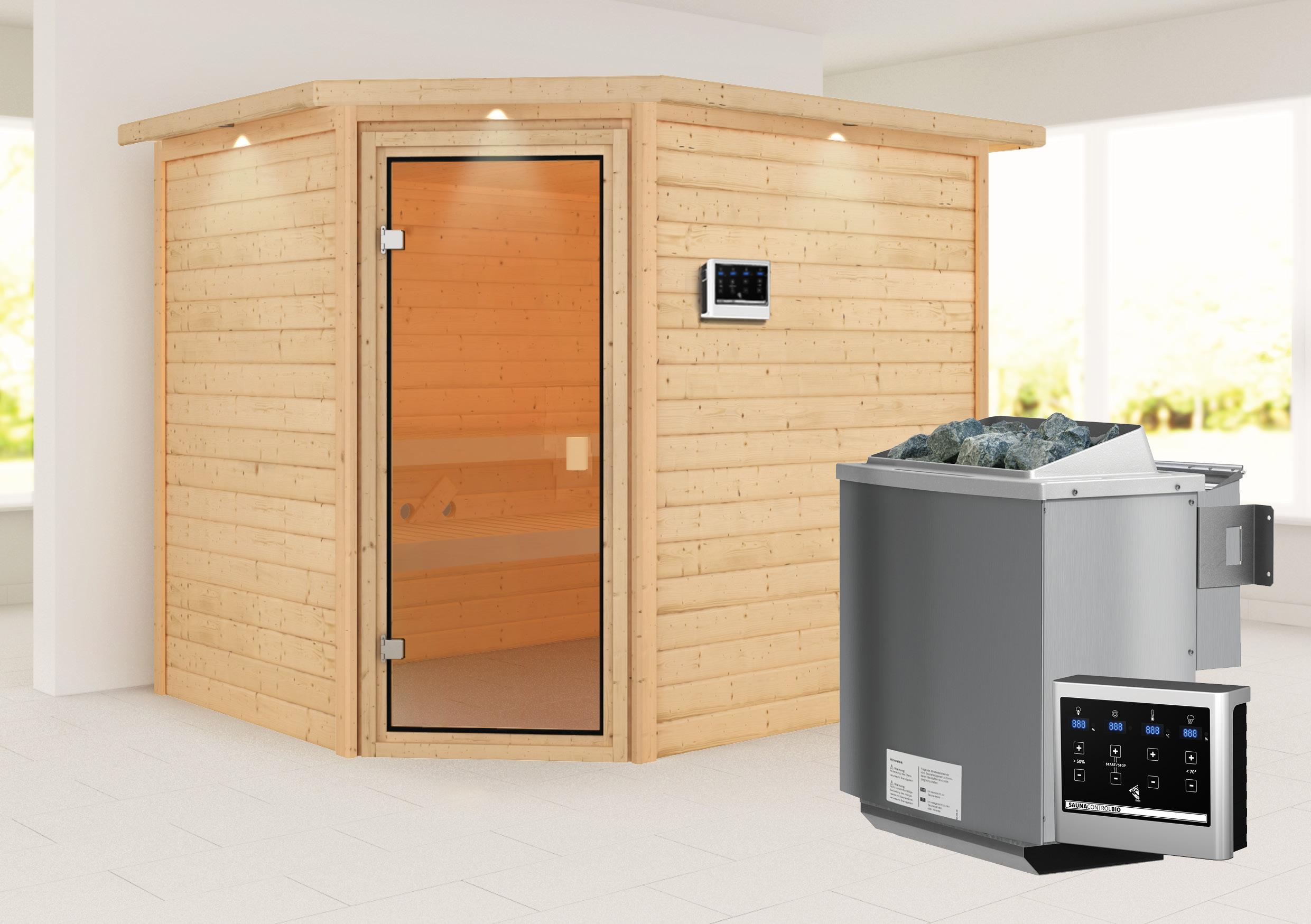 Woodfeeling Sauna Lisa 38mm Kranz Ofen Bio 9kW Tür Classic Bild 1
