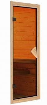 Woodfeeling Sauna Lisa 38mm Kranz Ofen Bio 9kW Tür Classic Bild 11