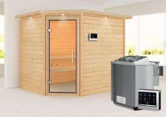 Woodfeeling Sauna Lisa 38mm Kranz Ofen Bio 9kW Tür Klarglas Bild 1