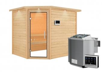 Woodfeeling Sauna Lisa 38mm Kranz Ofen Bio 9kW Tür Klarglas Bild 6