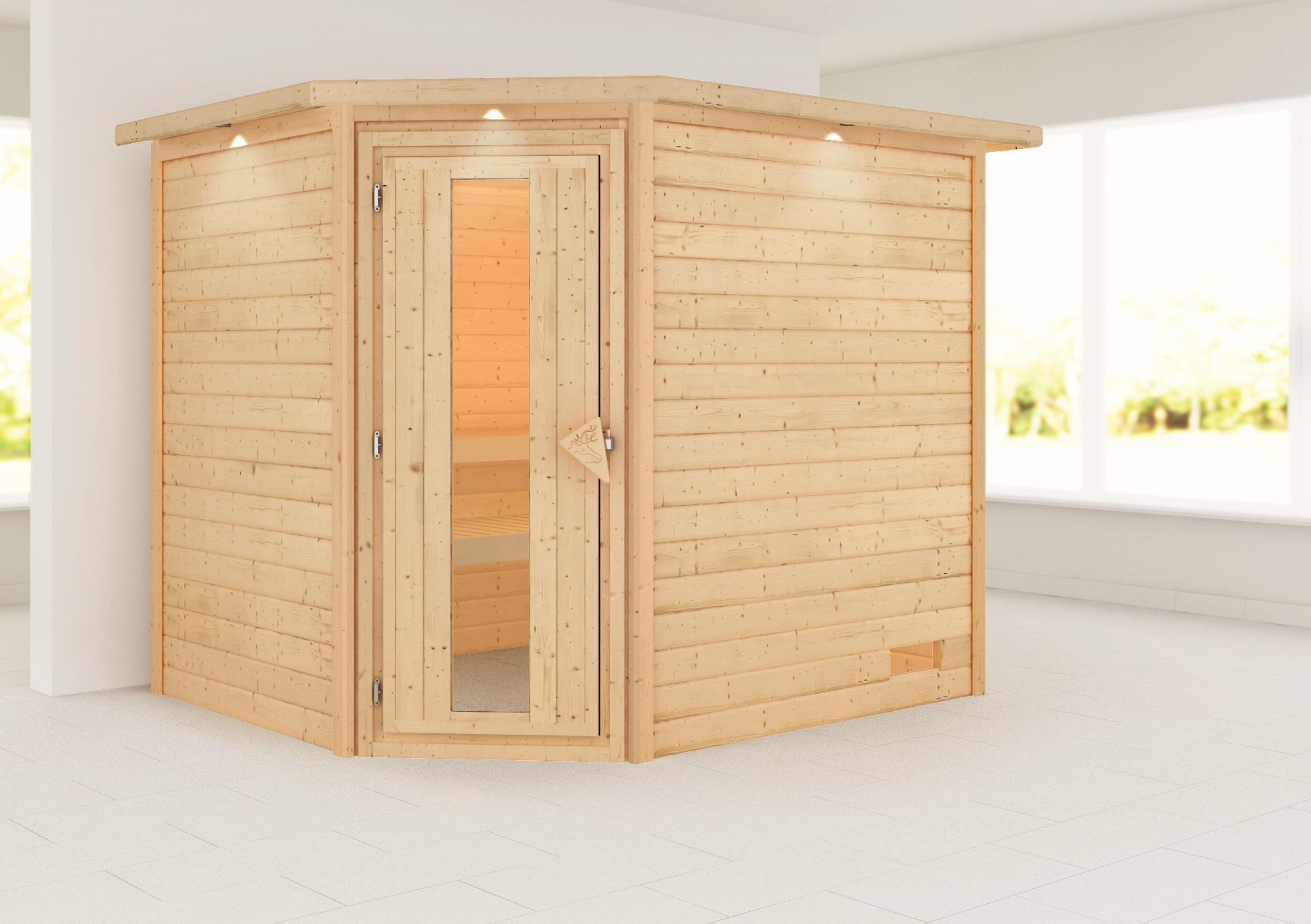 Woodfeeling Sauna Lisa 38mm Kranz ohne Ofen Tür Holz Bild 1