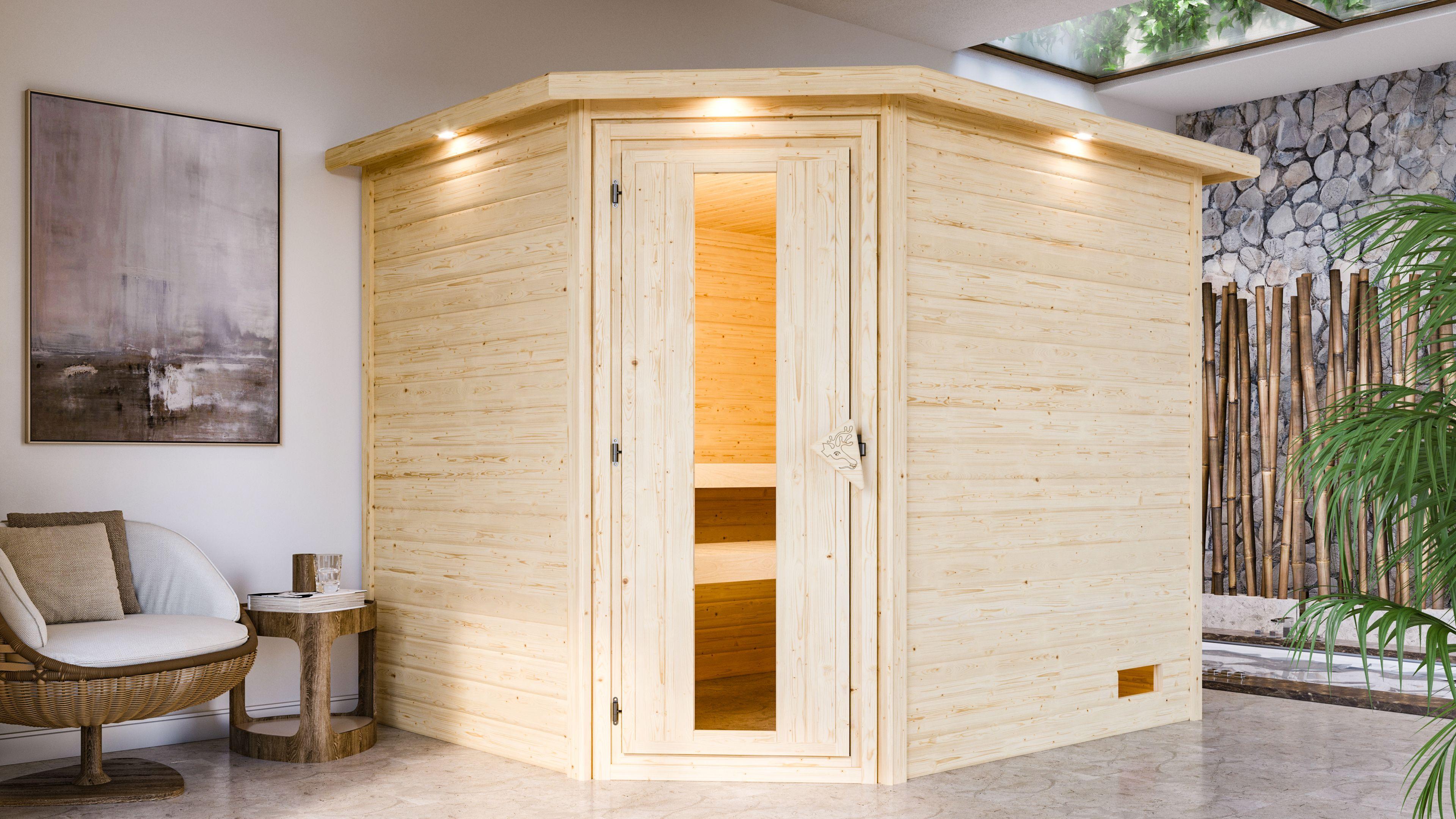 Woodfeeling Sauna Lisa 38mm Kranz ohne Ofen Tür Holz Bild 4