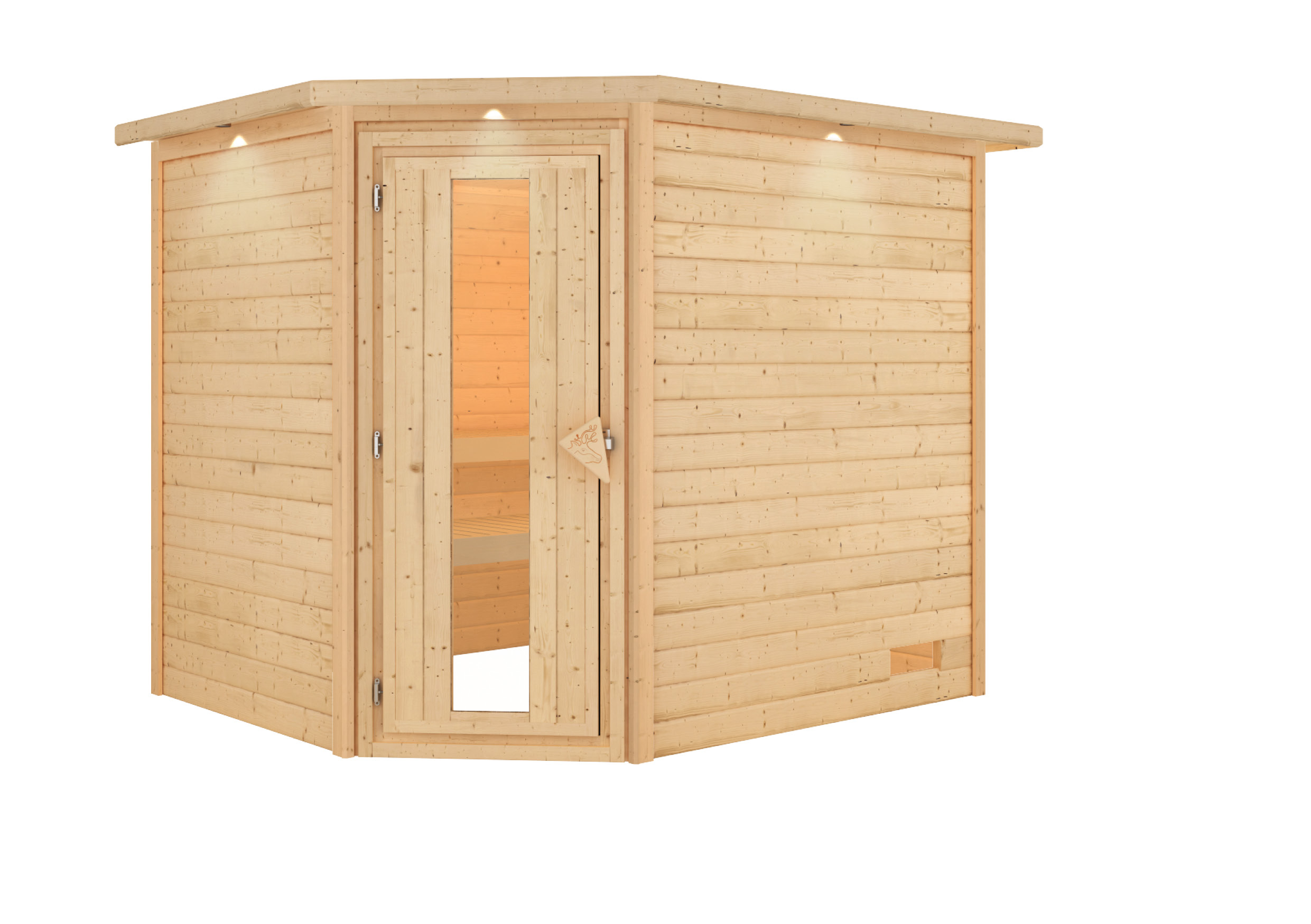 Woodfeeling Sauna Lisa 38mm Kranz ohne Ofen Tür Holz Bild 5